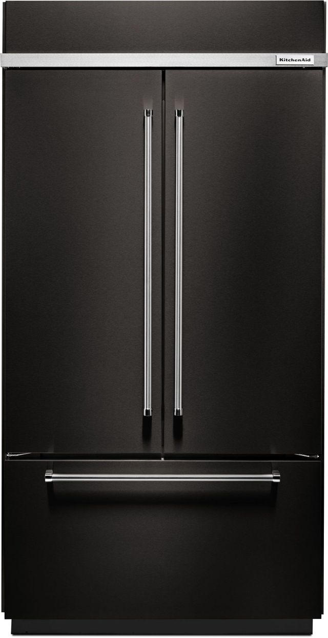 KitchenAid® 24.17 Cu. Ft. Black Stainless Steel with PrintShield™ Finish Built In French Door Refrigerator-KBFN502EBS