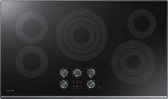 "Samsung 36"" Electric Cooktop-Fingerprint Resistant Black Stainless Steel-NZ36K6430RG"