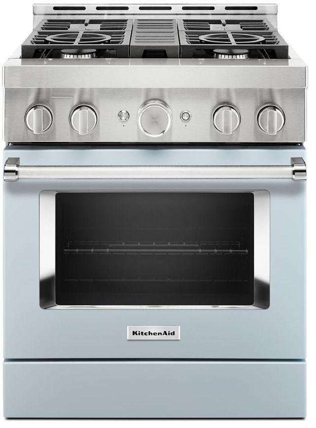 "KitchenAid® 30"" Misty Blue Smart Commercial-Style Gas Range-KFGC500JMB"