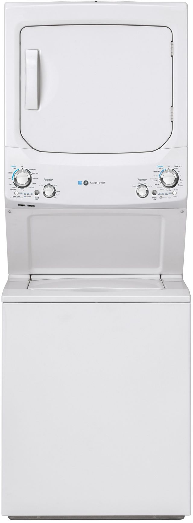 GE® Unitized Spacemaker® 3.9 Cu. Ft. Washer, 5.9 Cu. Ft. Dryer White Stack Laundry-GUD27EESNWW