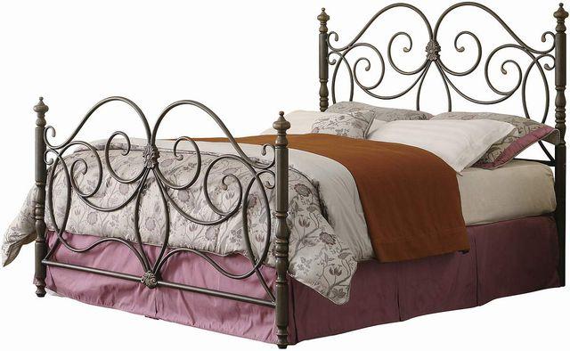 Coaster® London Dark Bronze Eastern King Metal Scroll Bed-300258KE