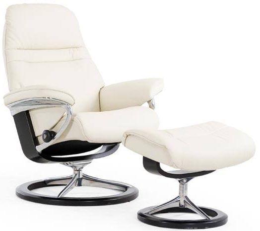 Stressless® by Ekornes® Sunrise Medium Signature Base Chair and Ottoman-1237315