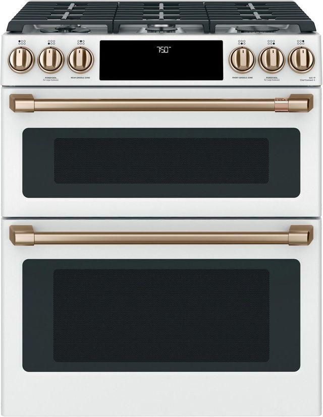 "Café™ 30"" Matte White Slide In Double Oven Gas Range-CGS750P4MW2"