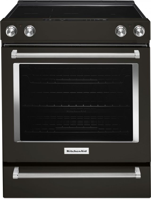 "KitchenAid® 30"" Black Stainless Steel with PrintShield™ Finish Slide In Electric Convection Range-KSEG700EBS"