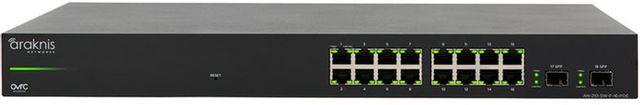 SnapAV Araknis Networks® 210 Series Black 16+2 Front Ports Websmart Gigabit Switch Partial PoE+-AN-210-SW-F-16-POE