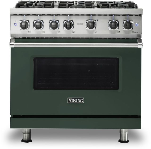 "Viking® 5 Series 36"" Blackforest Green Pro Style Natural Gas Range-VGR5366BBF"