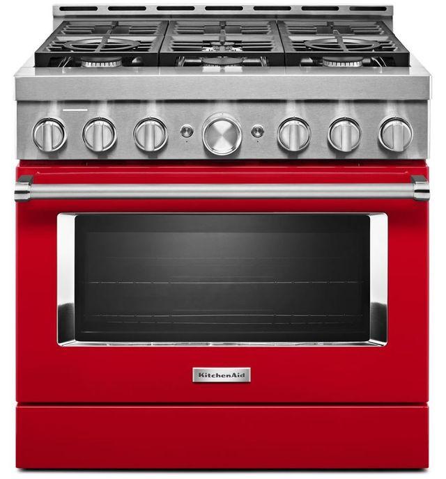 "KitchenAid® 36"" Passion Red Smart Commercial-Style Gas Range-KFGC506JPA"