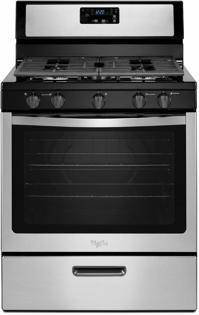 "Whirlpool® 30"" Free Standing Gas Range-Black on Stainless Steel-WFG505M0BS"
