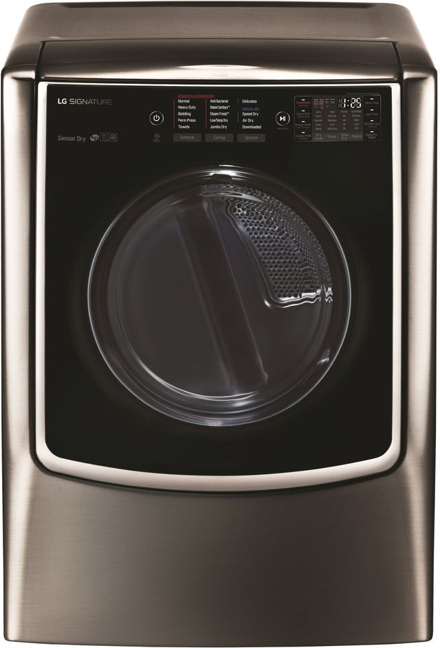 LG Signature 9.0 Cu. Ft. Black Stainless Steel Front Load Electric Dryer-DLEX9500K