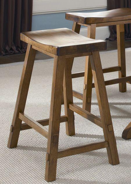 """Liberty Furniture Creations II 24"""" Tobacco Sawhorse Barstool-38-B1830"""