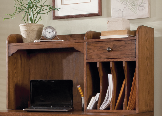 Liberty Furniture Hearthstone Rustic Oak Home Office Writing Desk Hutch-382-HO140