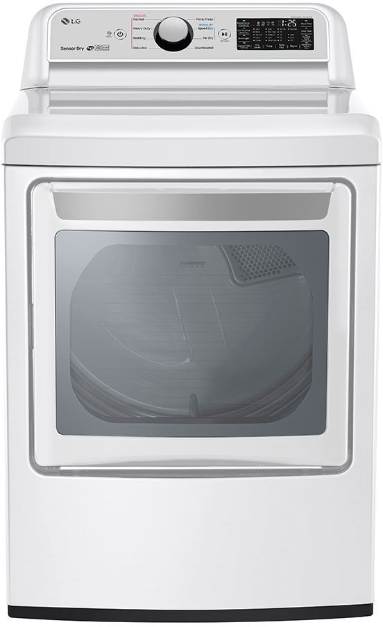 LG 7.3 Cu. Ft. White Front Load Electric Dryer-DLE7300WE
