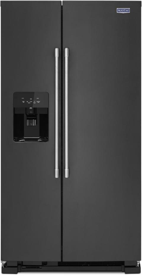 Maytag® 24.51 Cu. Ft. Cast Iron Black Side-by-Side Refrigerator-MSS25C4MGK