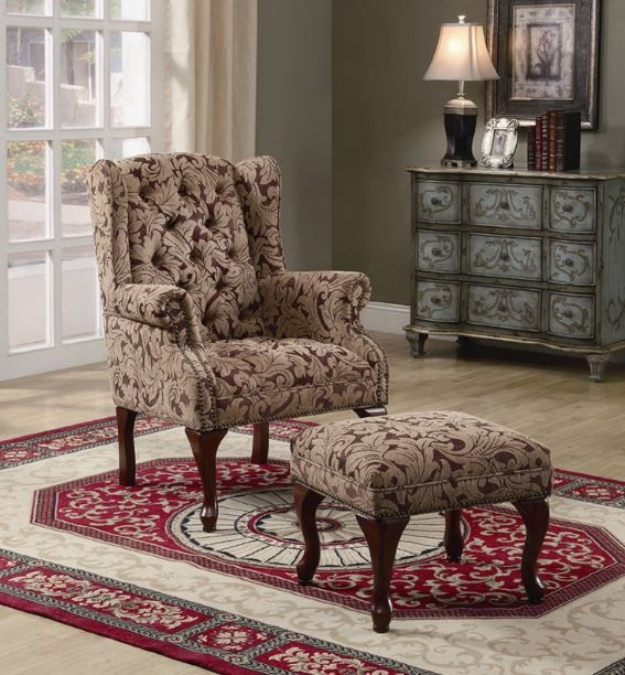 Coaster® Wing Back Chair and Ottoman-3932B
