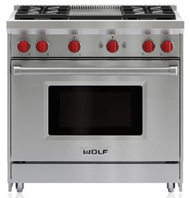 """Wolf® 36"""" Pro Style Gas Range-Stainless Steel-GR364G"""