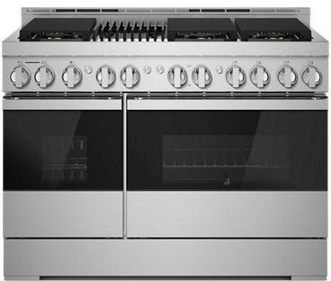 """JennAir® Noir™ 48"""" Stainless Steel Pro Style Gas Range-JGRP648HM"""
