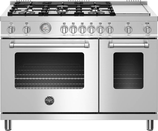 "Bertazzoni Master Series 48"" Stainless Steel Free Standing Dual Fuel Range-MAST486GDFMXE"