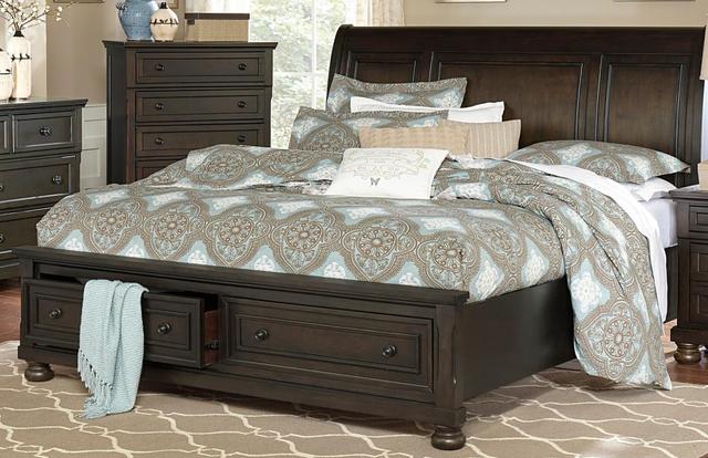 Begonia Queen Sleigh Platform Bed-1718GY-1*