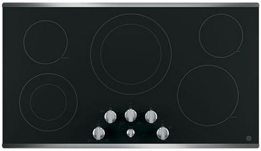 """GE® 36"""" Electric Cooktop-Stainless Steel on Black-JP3536SJSS"""