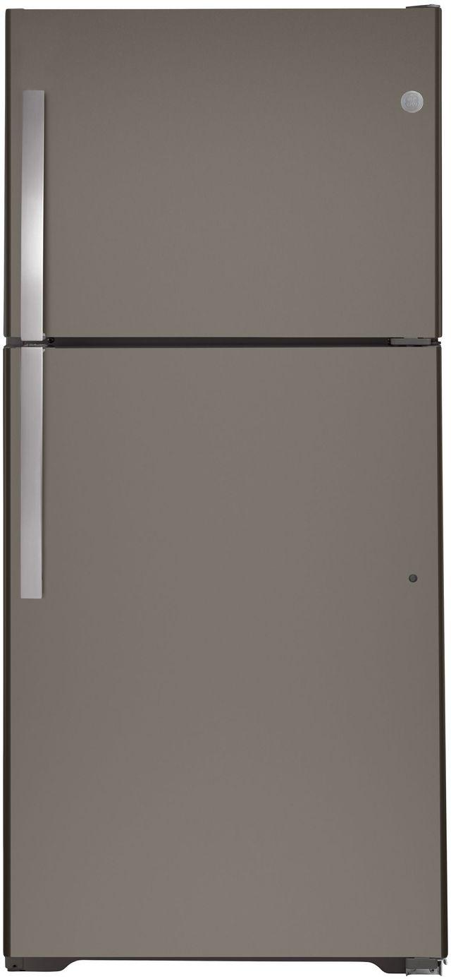 GE® 21.9 Cu. Ft. Slate Top Freezer Refrigerator-GTS22KMNRES
