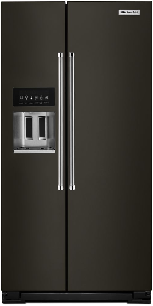 KitchenAid® 24.8 Cu. Ft. Black Stainless Steel with PrintShield™ Finish Side-by-Side Refrigerator-KRSF705HBS