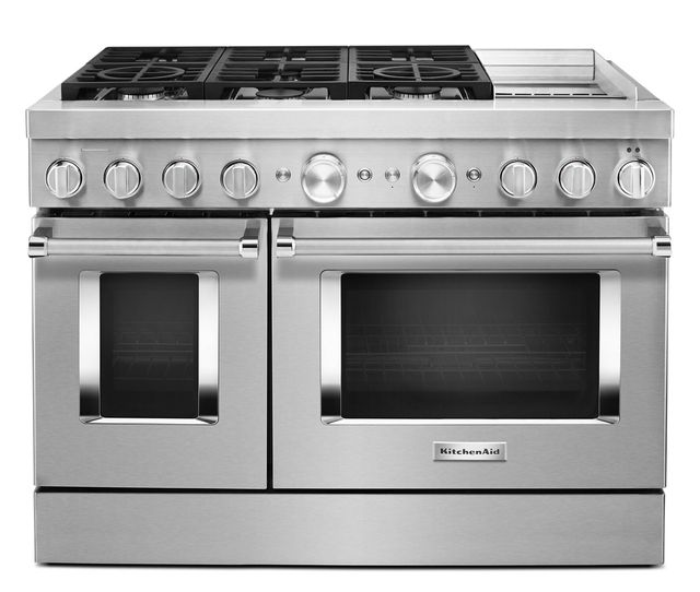 """KitchenAid® 48"""" Stainless Steel Commercial Style Freestanding Dual Fuel Range-KFDC558JSS"""