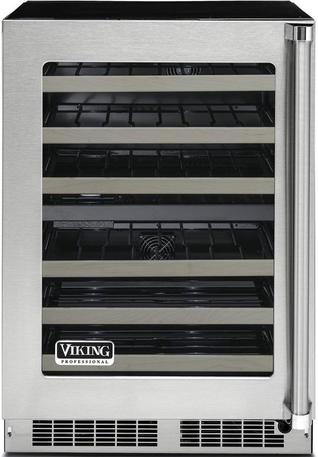 """Viking® Professional 5 Series 23.88"""" Stainless Steel Frame Undercounter Wine Cooler-VWUI5240GLSS"""