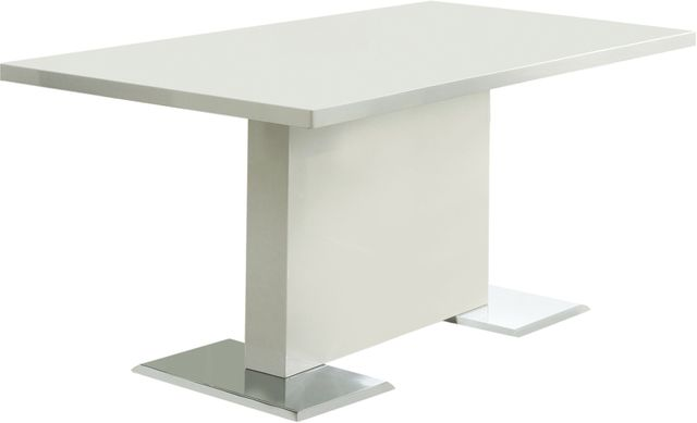 Coaster® Anges Glossy White T-Shaped Pedestal Dining Table-102310