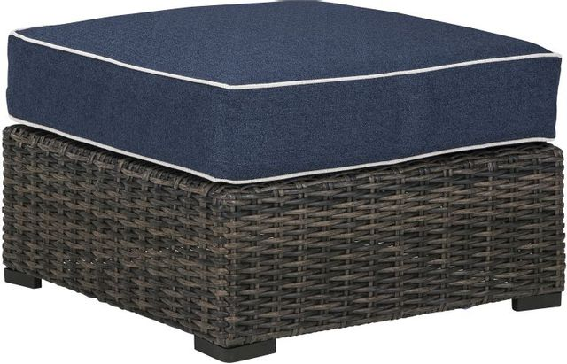 Signature Design by Ashley® Grasson Lane Brown/Blue Ottoman with Cushion-P783-814