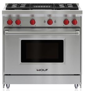 """Wolf® 36"""" Stainless Steel Pro Style Gas Range-GR364C"""