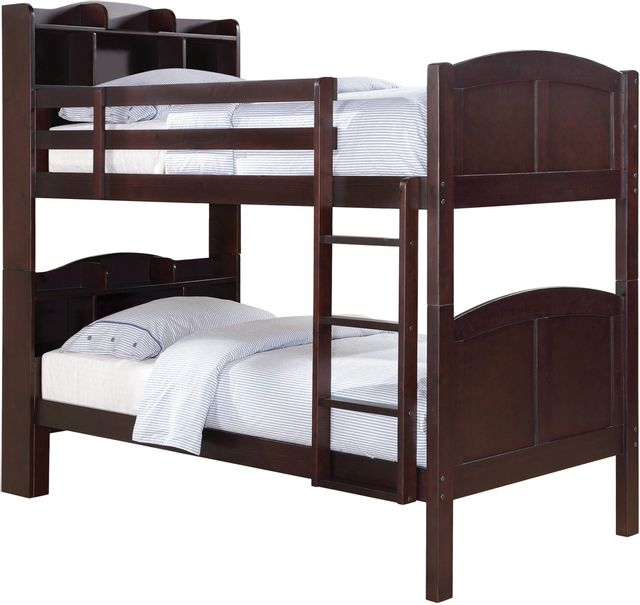 Coaster® Parker Cappuccino Twin-Over-Twin Bookcase Bunk Bed-460442
