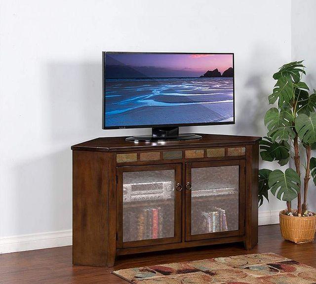 "Sunny Designs Santa Fe Dark Chocolate 55"" Corner TV Console-3399DC2"