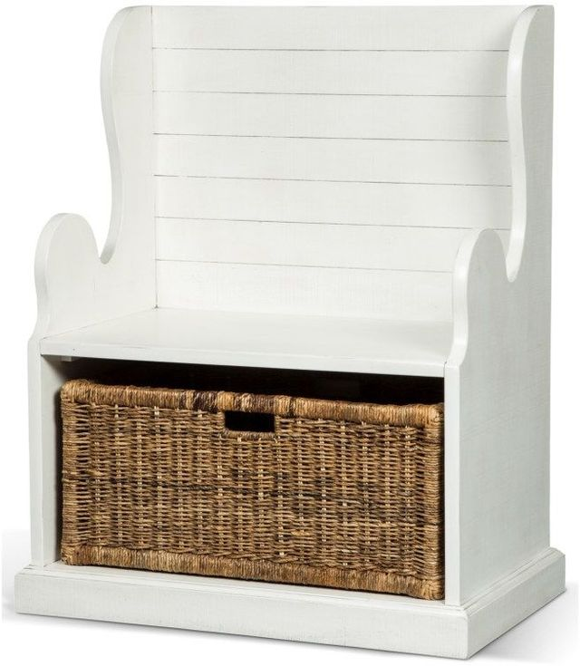 Sunny Designs Accents River Birch Hall Seat With Rattan Basket-2026RB