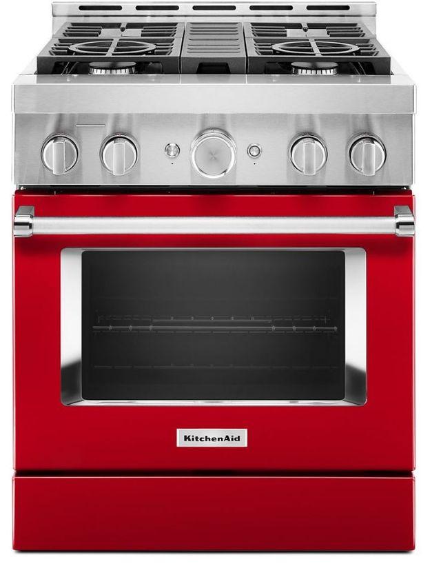 "KitchenAid® 30"" Passion Red Smart Commercial-Style Gas Range-KFGC500JPA"