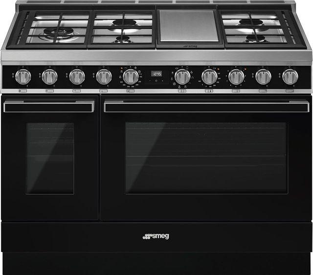 "Smeg Portofino Aesthetic 48"" Black Pro Style Dual Fuel Natural Gas Range-CPF48UGMBL"
