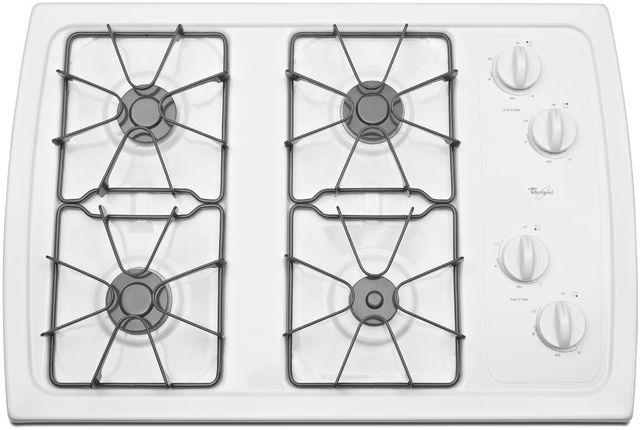 "Whirlpool® 30"" Gas Cooktop-White-W3CG3014XW"