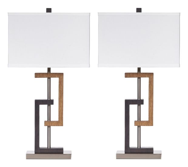Signature Design by Ashley® Syler Set of 2 Brown/Silver Table Lamps-L405284