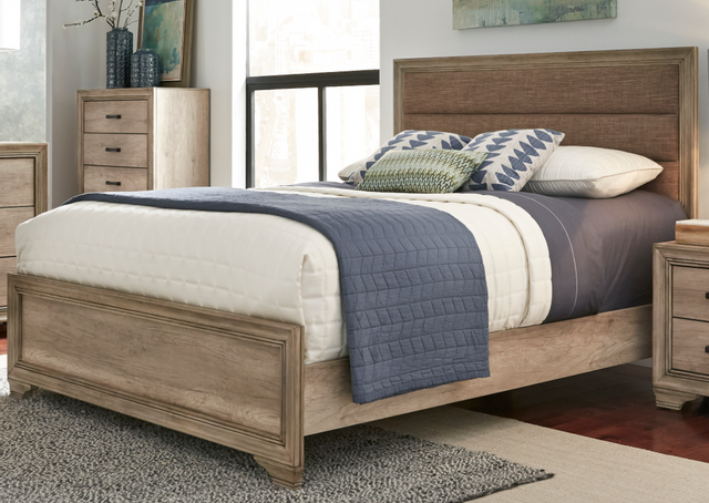 Liberty Sun Valley Bedroom King Upholstered Bed, Dresser, Mirror and Chest Collection-439-BR-KUBDMC