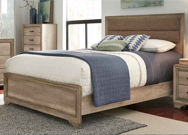 Liberty Furniture  Sun Valley Bedroom Queen Upholstered Bed, Dresser and Mirror Collection-439-BR-QUBDM
