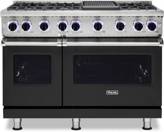 "Viking® 7 Series 48"" Cast Black Pro Style Natural Gas Range with 12"" Reversible Griddle-VGR74826GCS"