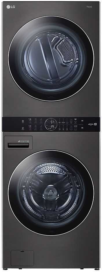 LG 4.5 Cu. Ft. Washer, 7.4 Cu. Ft. Electric Dryer Black Steel Front Load Stack Laundry-WKEX200HBA-15-C473