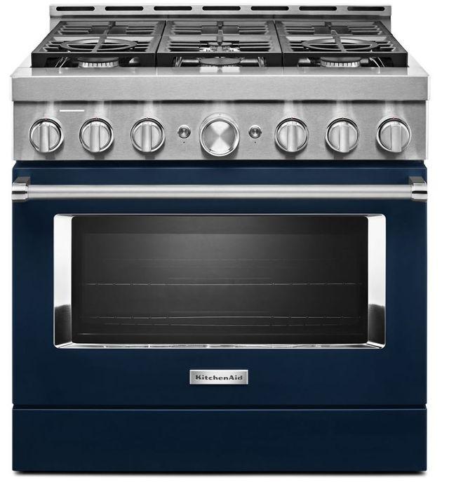 "KitchenAid® 36"" Ink Blue Smart Commercial-Style Gas Range-KFGC506JIB"