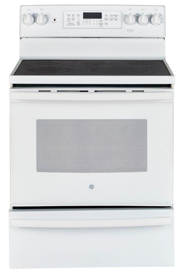 Cuisinière électrique autoportante GE® de 5,0 pi³ de 30 po - Blanc-JCB860DKWW