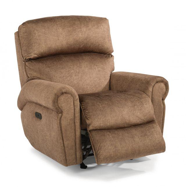 Flexsteel® Langston Fabric Power Rocking Recliner with Power Headrest-4504-51H