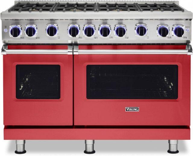 "Viking® 7 Series 48"" San Marzano Red Pro Style Natural Gas Range-VGR74828BSM"