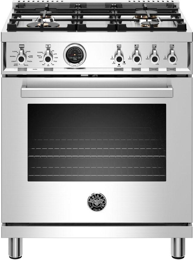Cuisinière biénergie style Pro Bertazzoni® de 4,6 pi³ de 30 po - Acier inoxydable-PROF304DFSXT