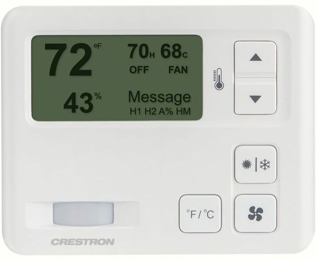 Crestron® 0-10V Heating/Cooling Fan-Coil Thermostat-White Textured-CHV-TSTAT-FCU-PIR-10-W-T