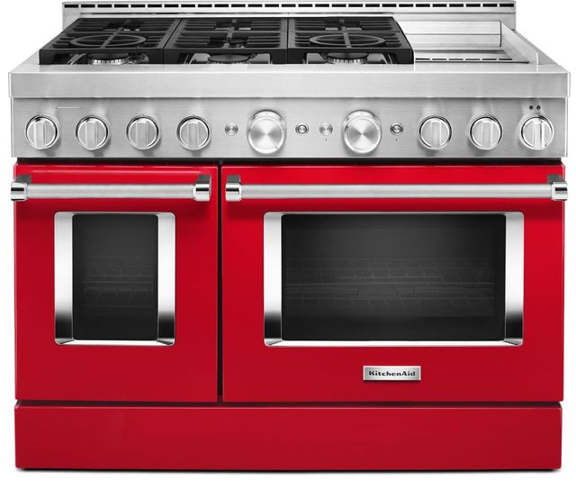 """KitchenAid® 48"""" Passion Red Smart Commercial-Style Gas Range with Griddle-KFGC558JPA"""