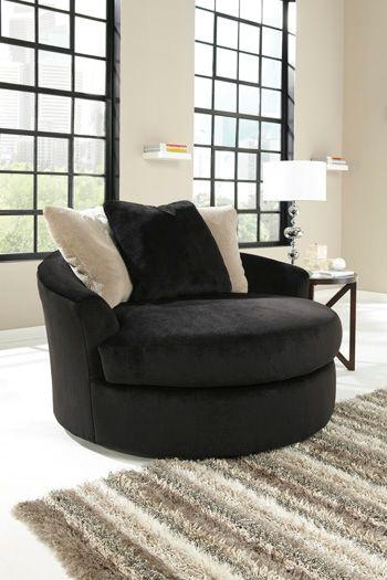 Signature Design by Ashley® Heflin Ebony Oversized Swivel Accent Chair-4720021