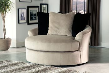 Signature Design by Ashley® Heflin Pebble Oversized Swivel Accent Chair-4720121
